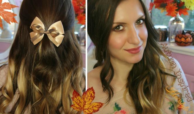 Autumn Inspired Half Up Hairstyle Using Dip Dye Hair